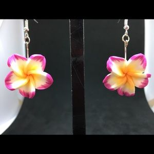 Jewelry - Hawaiian Plumeria Polymer Clay Dangle Earrings